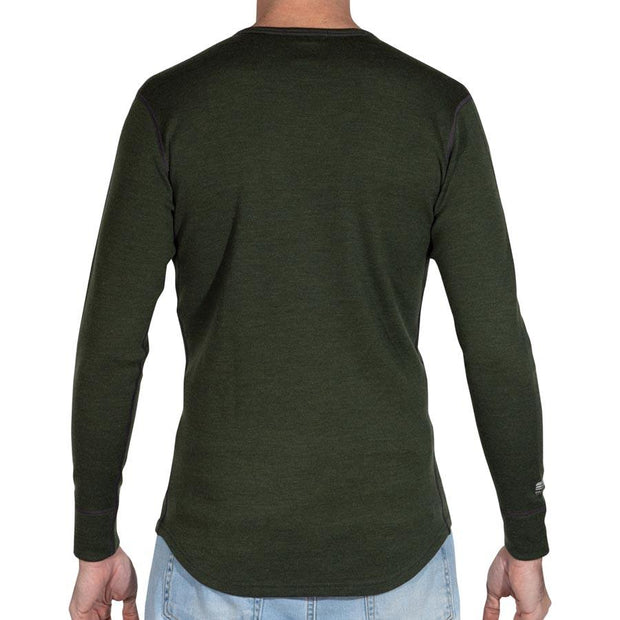 back of a man wearing mens merino wool 400g top crew long sleeve shirt in army green