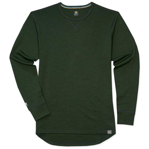 mens merino wool 400g top crew long sleeve shirt in army green laying flat