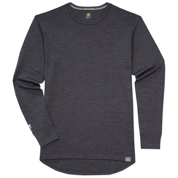 mens merino wool 400g top crew long sleeve shirt in charcoal gray laying flat