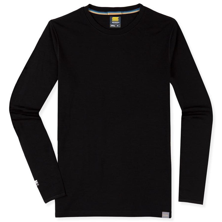 mens black merino wool base layer 250 thermal shirt laying flat
