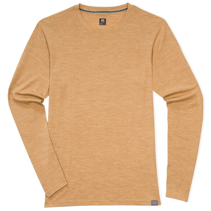mens sand merino wool base layer 250 thermal shirt laying flat