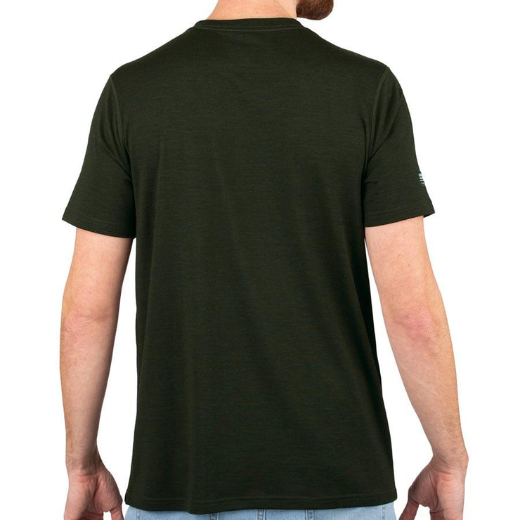 back of a man wearing an army green merino wool 190g lightweight t shirt