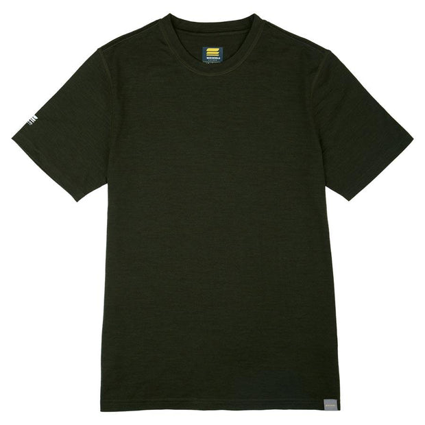 army green merino wool lightweight base layer shirt laying flat on a table