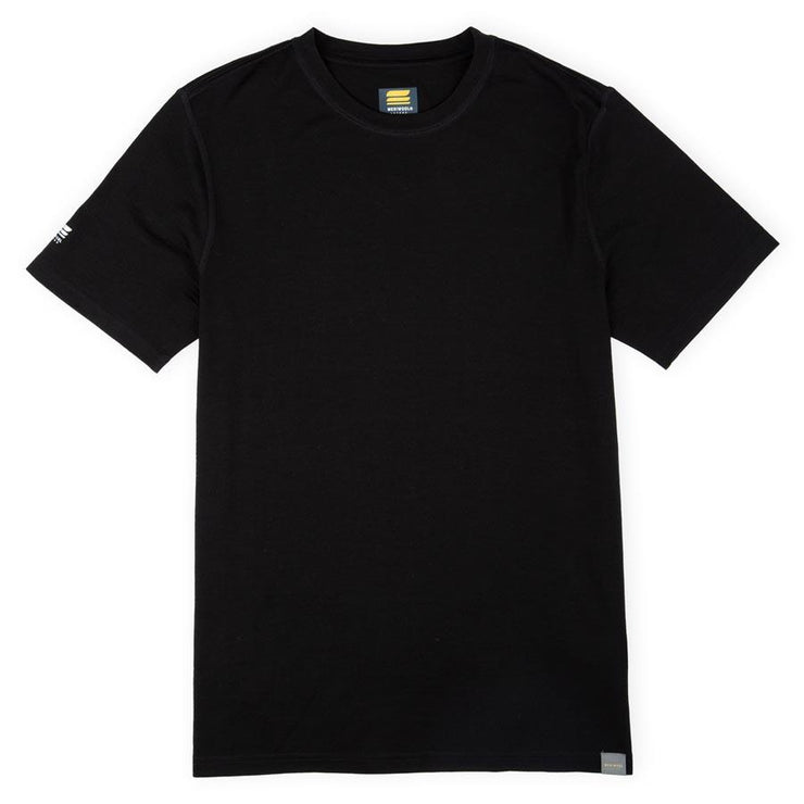 merino wool lightweight base layer shirt in black laying flat on a table
