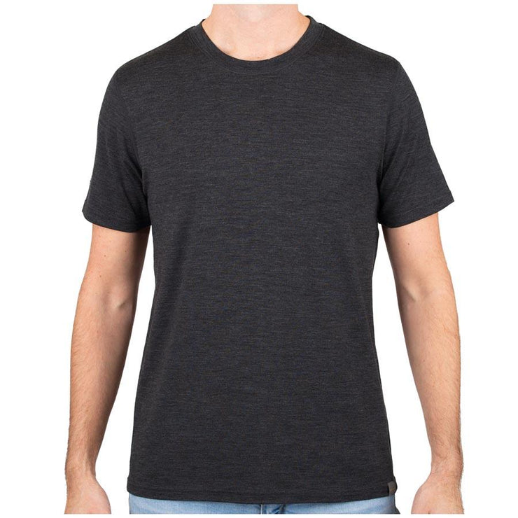man wearing a charcoal gray merino wool 190g lightweight t shirt
