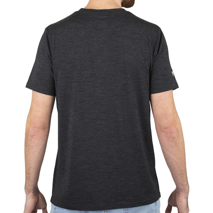 back of a man wearing a charcoal gray merino wool 190g lightweight t shirt
