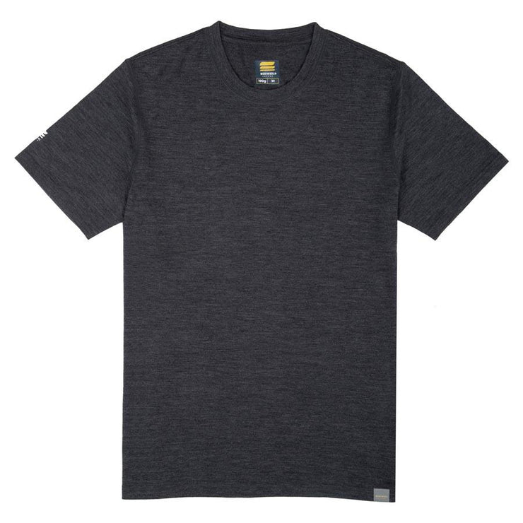 charcoal gray merino wool lightweight base layer shirt laying flat on a table