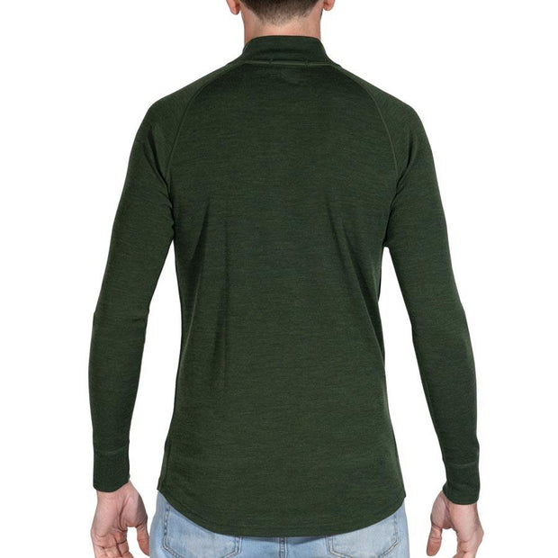 back of a man wearing mens army green merino wool base layer 250 half zip sweater