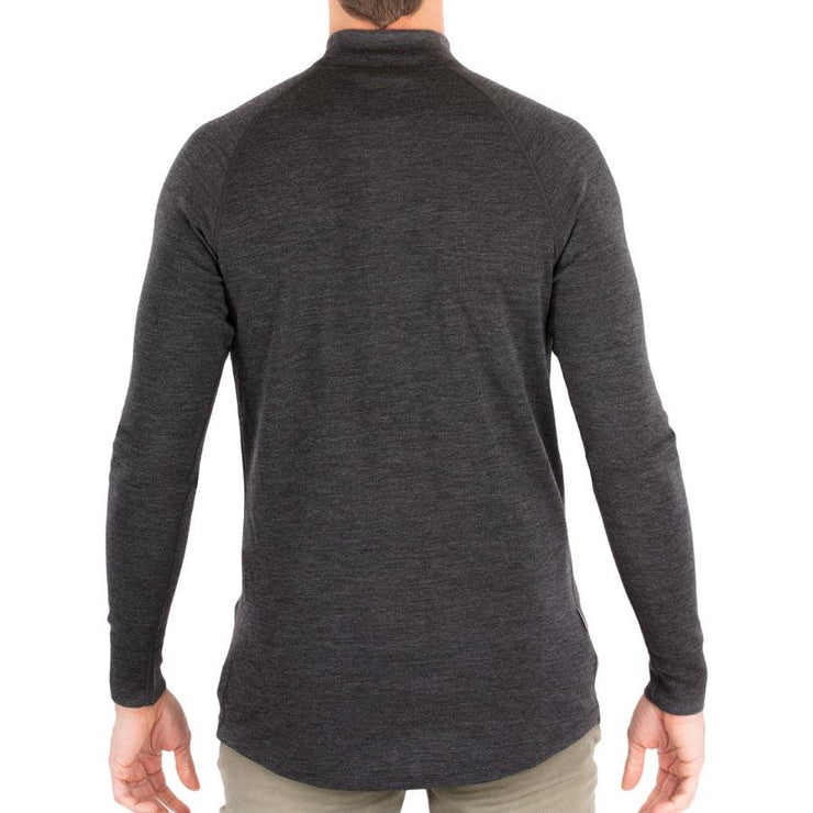 back of a man wearing mens charcoal gray merino wool base layer 250 half zip sweater