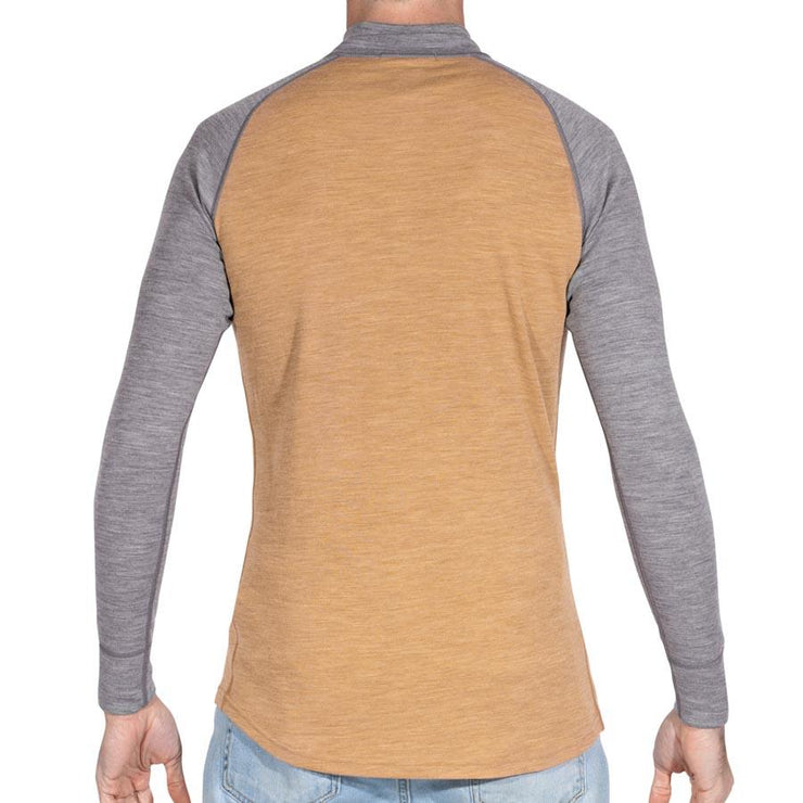 back of a man wearing mens sand and gray merino wool base layer 250 half zip sweater