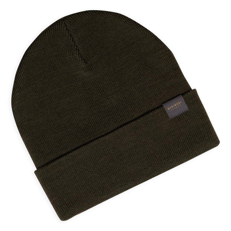 army green merino wool ribbed knit beanie laying flat