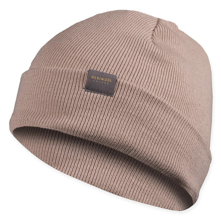 beige merino wool ribbed knit beanie