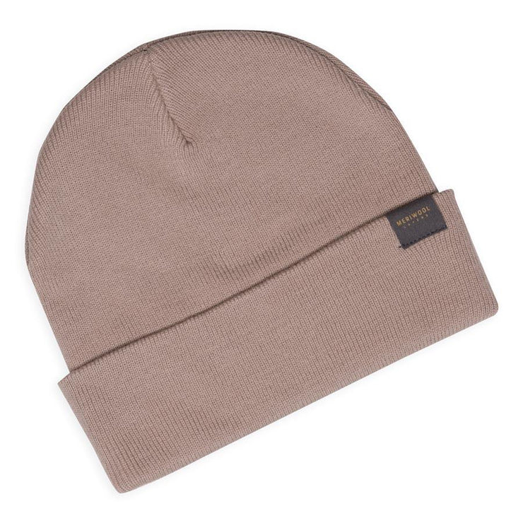 beige merino wool ribbed knit beanie laying flat