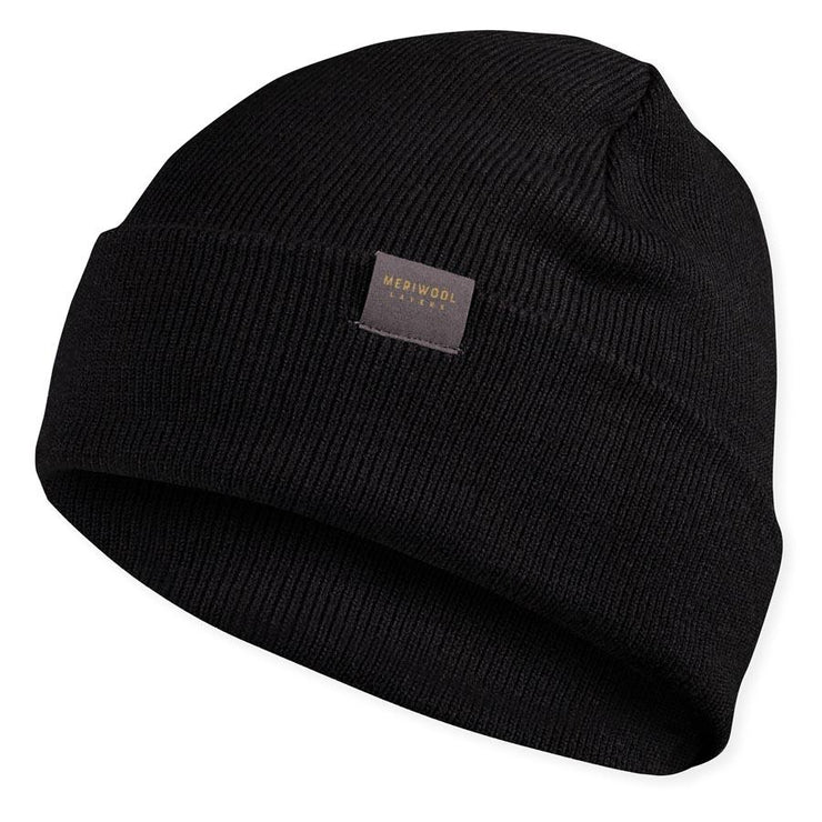 black merino wool ribbed knit beanie