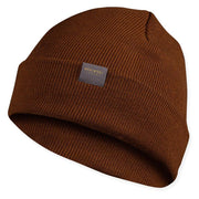 brown merino wool ribbed knit beanie