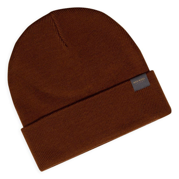 brown merino wool ribbed knit beanie laying flat