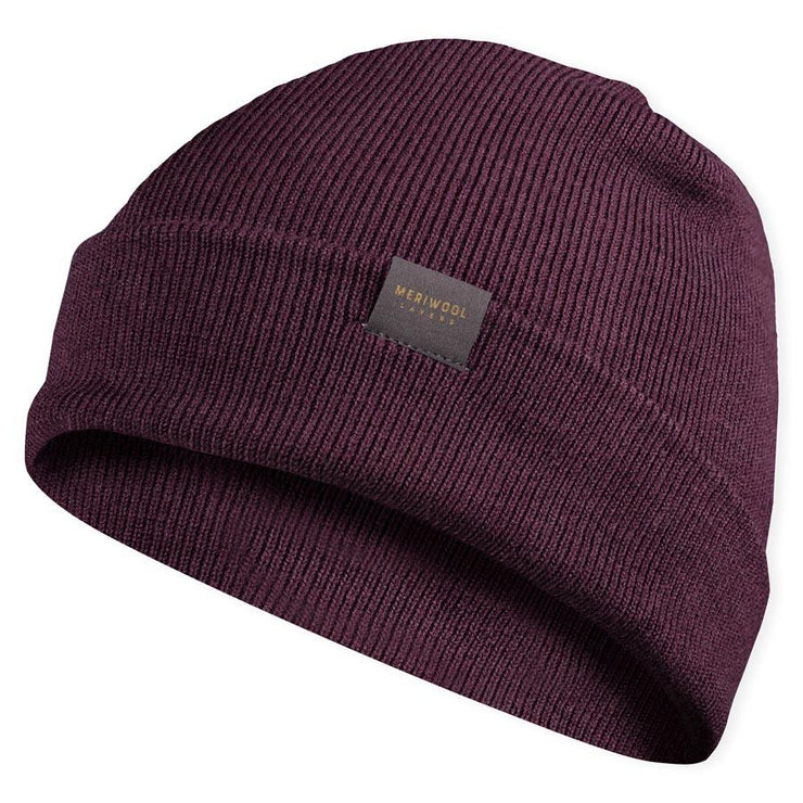 berry colored merino wool ribbed knit beanie