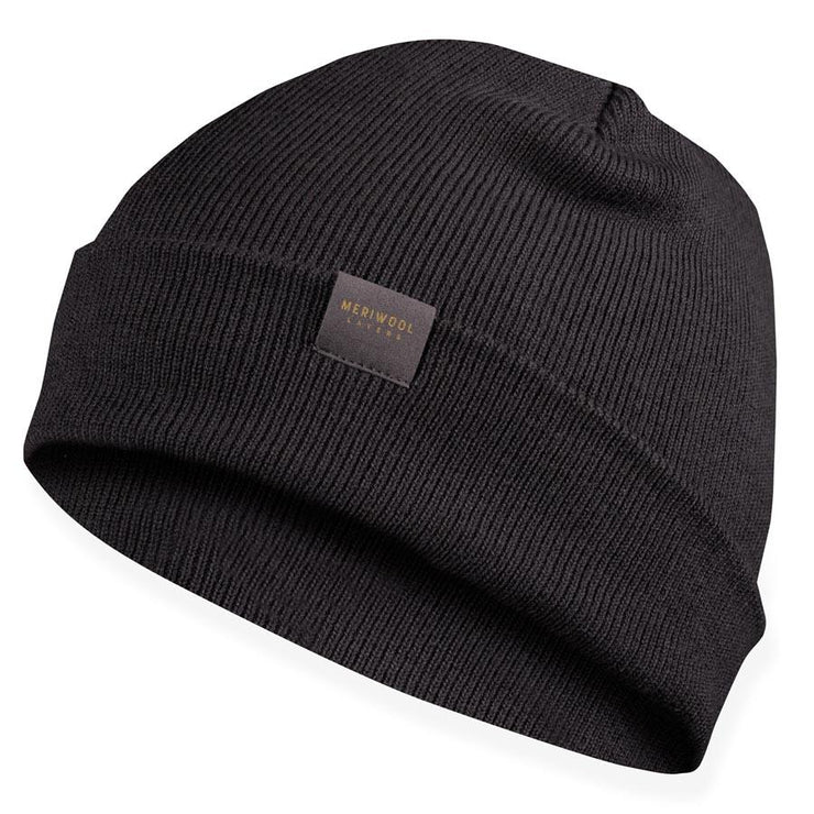 charcoal gray merino wool ribbed knit beanie