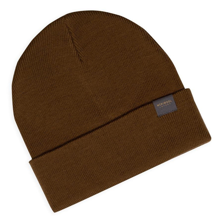coyote colored merino wool ribbed knit beanie laying flat