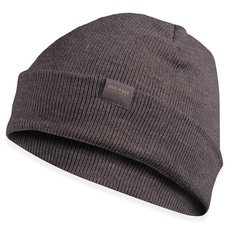 gray heather merino wool ribbed knit beanie