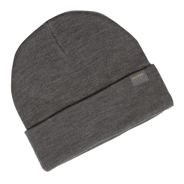 gray heather merino wool ribbed knit beanie laying flat