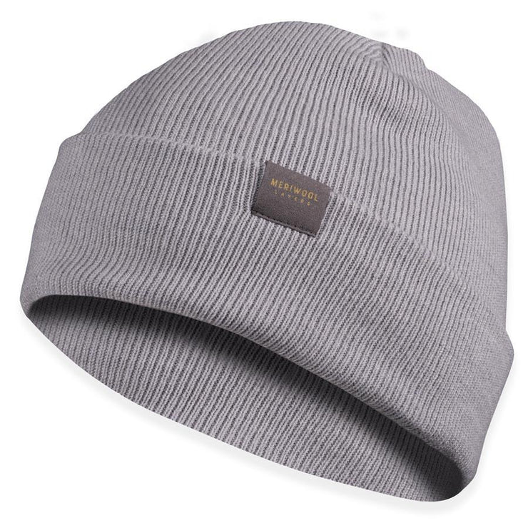 light gray merino wool ribbed knit beanie