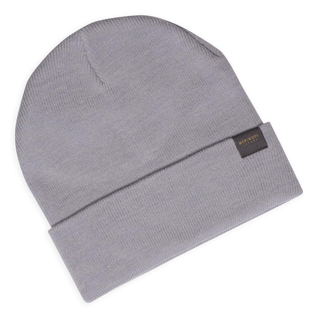light gray merino wool ribbed knit beanie laying flat