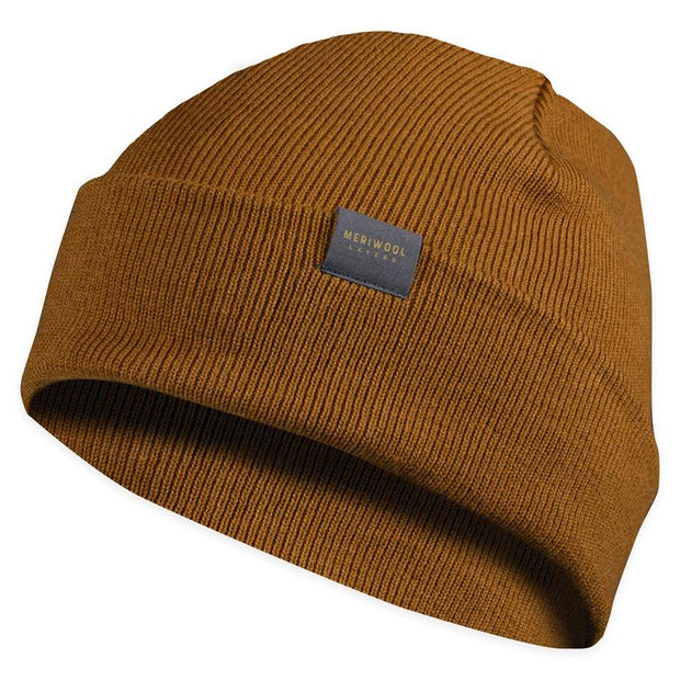 mustard colored merino wool ribbed knit beanie
