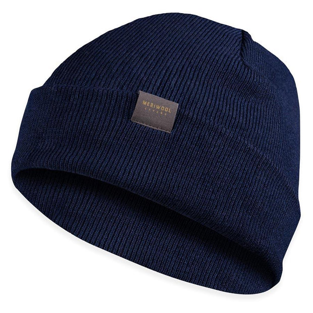 navy blue colored merino wool ribbed knit beanie