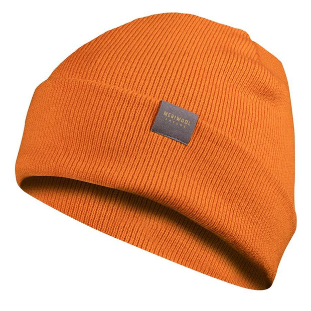 orange merino wool ribbed knit beanie