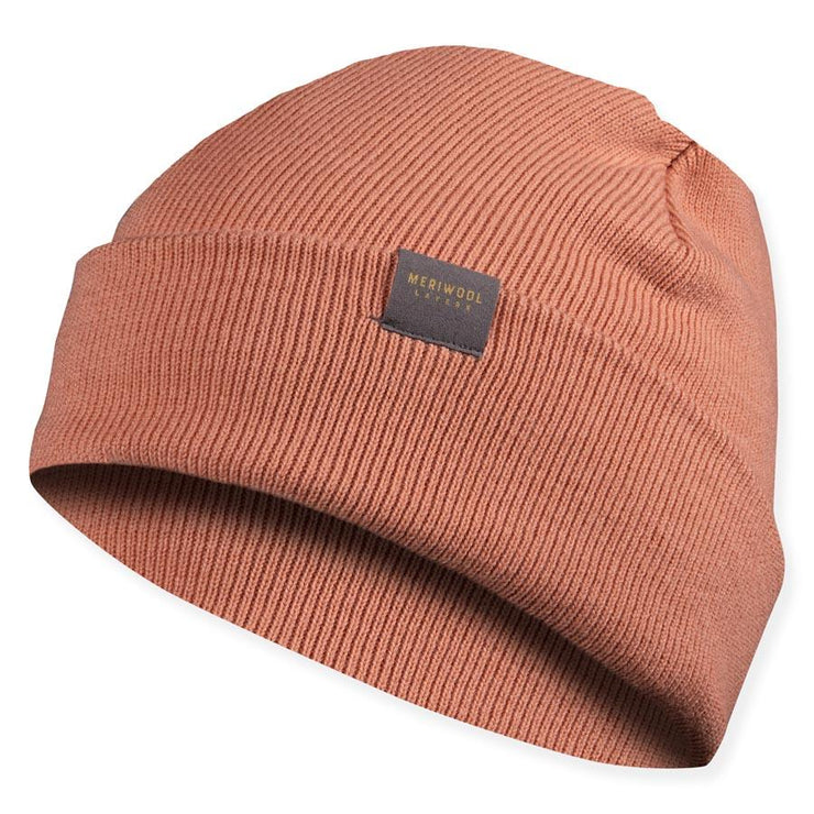 peach colored merino wool ribbed knit beanie