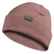 rose colored merino wool ribbed knit beanie