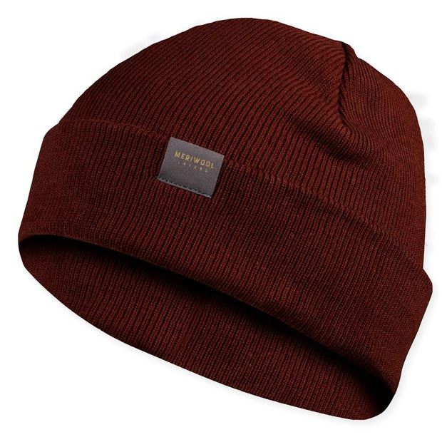 rust colored merino wool ribbed knit beanie