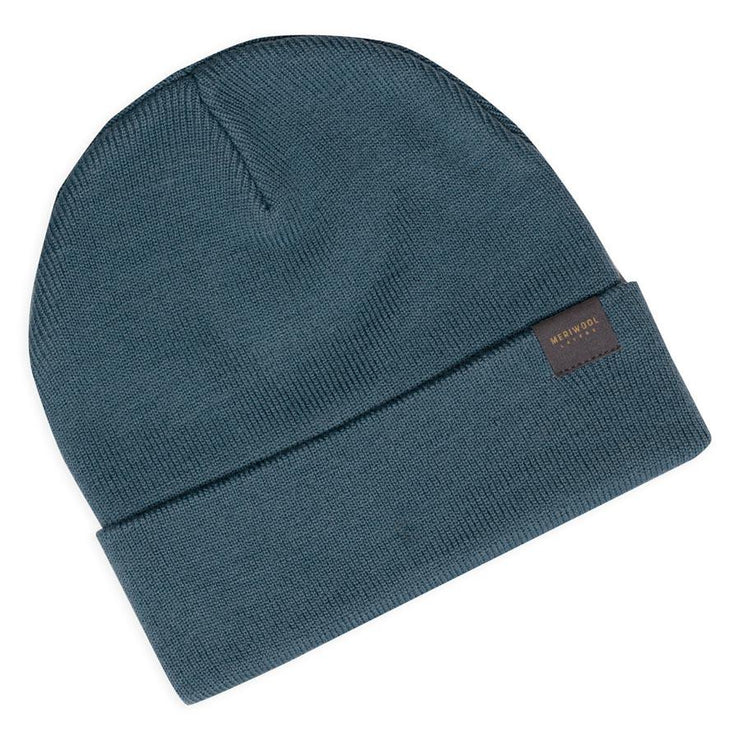 teal merino wool ribbed knit beanie laying flat