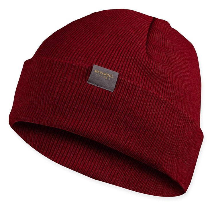 wine colored merino wool ribbed knit beanie