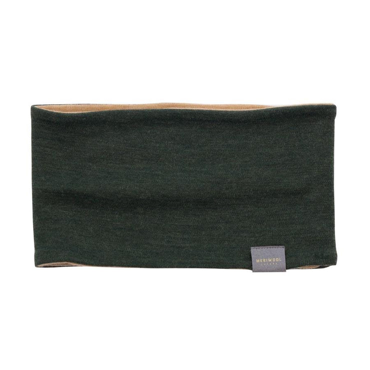 army green and sand color reversible merino wool headband