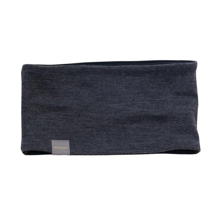 black and charcoal gray reversible merino wool headband