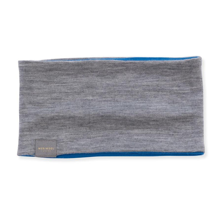 electric blue and gray heather reversible merino wool headband