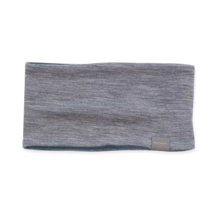 gray heather and teal reversible merino wool headband