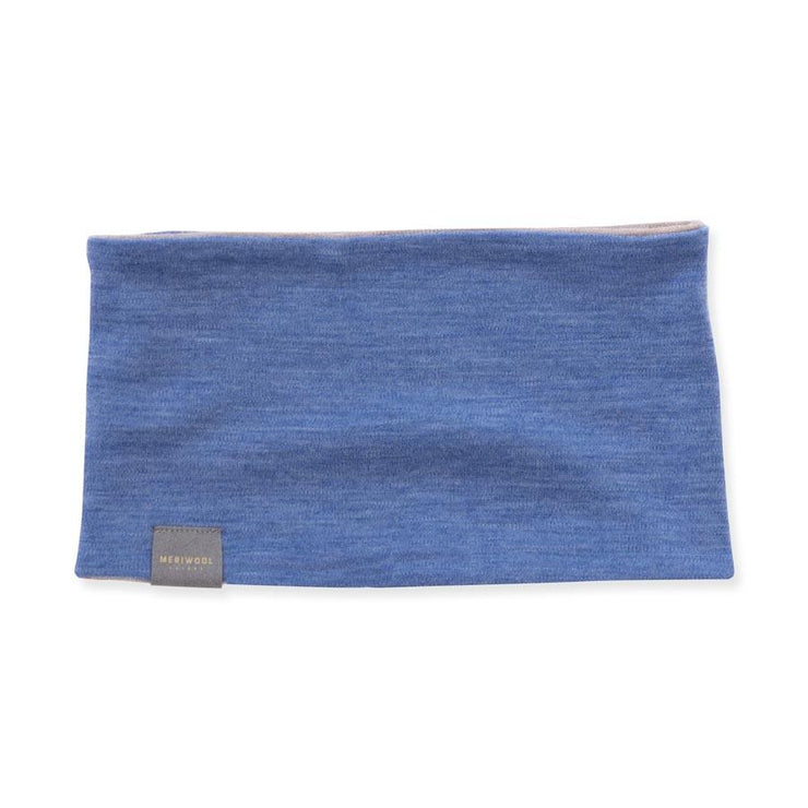 khaki and sky blue heather reversible merino wool headband
