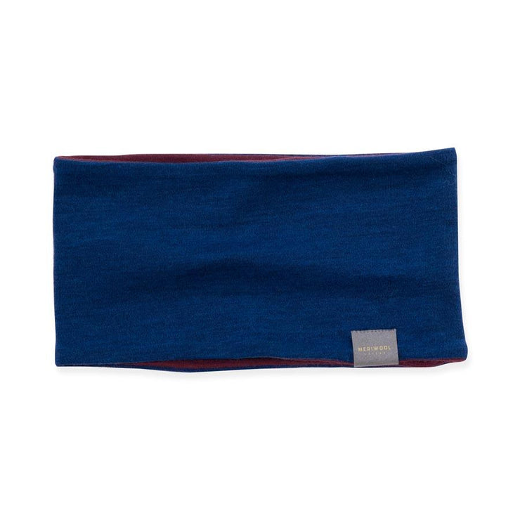 wine and navy blue reversible merino wool headband