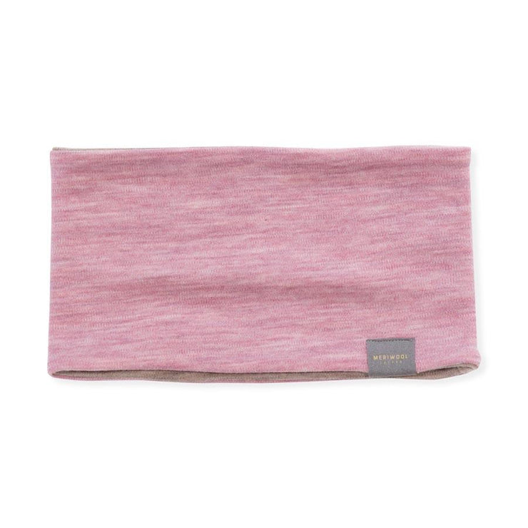pink and khaki reversible merino wool headband