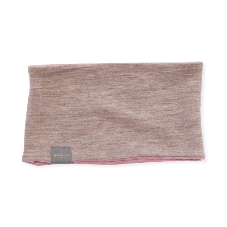 pink heather and khaki reversible merino wool headband