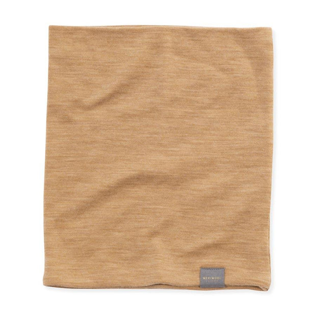 sand color merino wool 250 neck gaiter laying flat