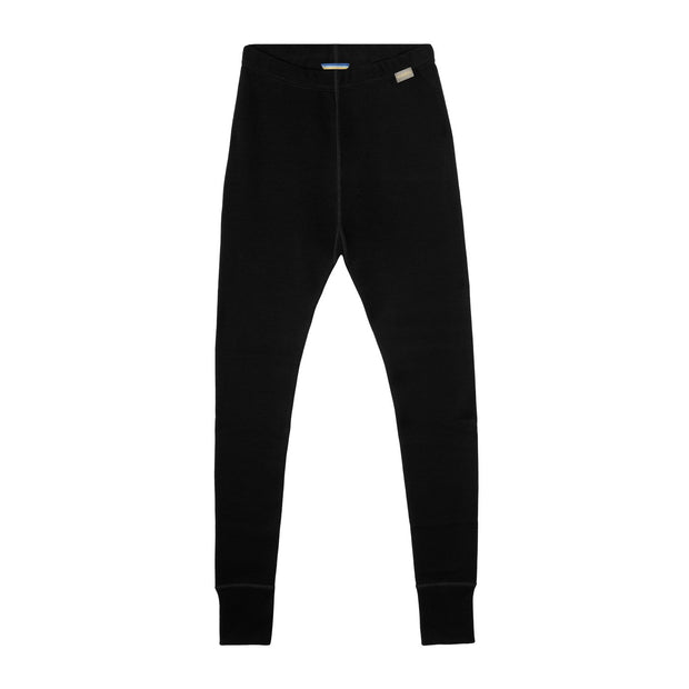 women's black merino wool 400 heavyweight base layer bottoms laying flat