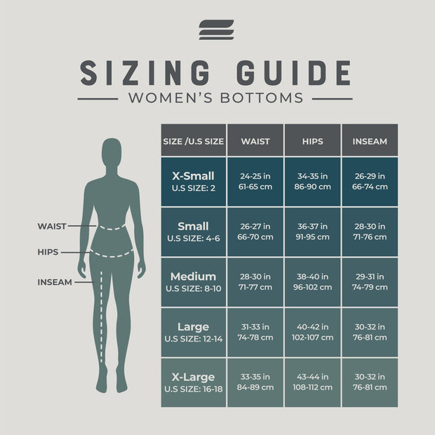 size guide for women's merino wool 400 heavyweight base layer bottoms