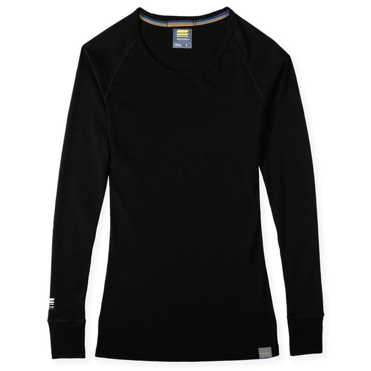 womens black merino wool 180 base layer top laying flat