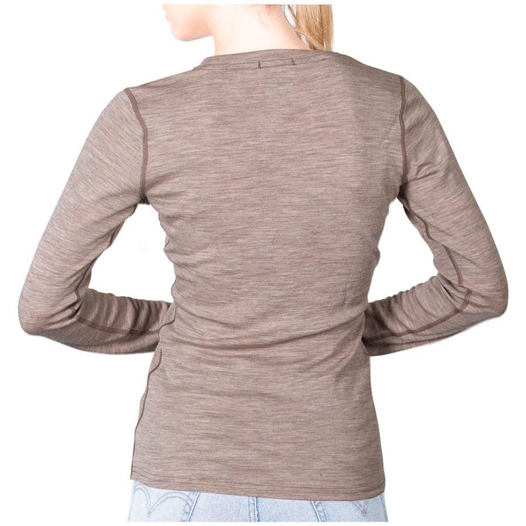 back of a woman wearing a women's khaki color merino wool 250 base layer top