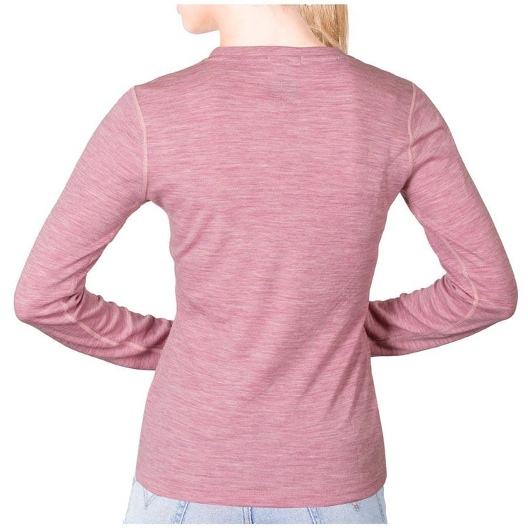 back of a woman wearing a women's pink heather merino wool 250 base layer top