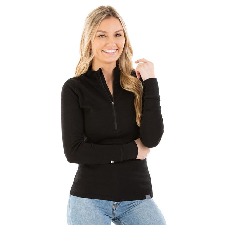 woman wearing women's black merino wool 250 base layer half zip sweater